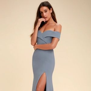 SONG OF LOVE BLUE GREY OFF-THE-SHOULDER MAXI DRE